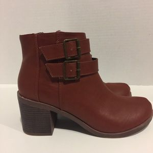 Brown Ankle Boots with Buckle Detail